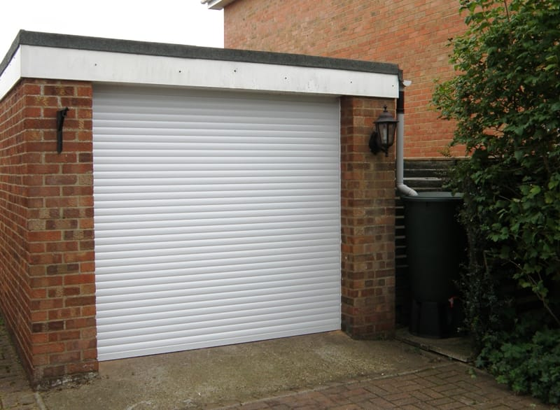 Single white roller garage doors