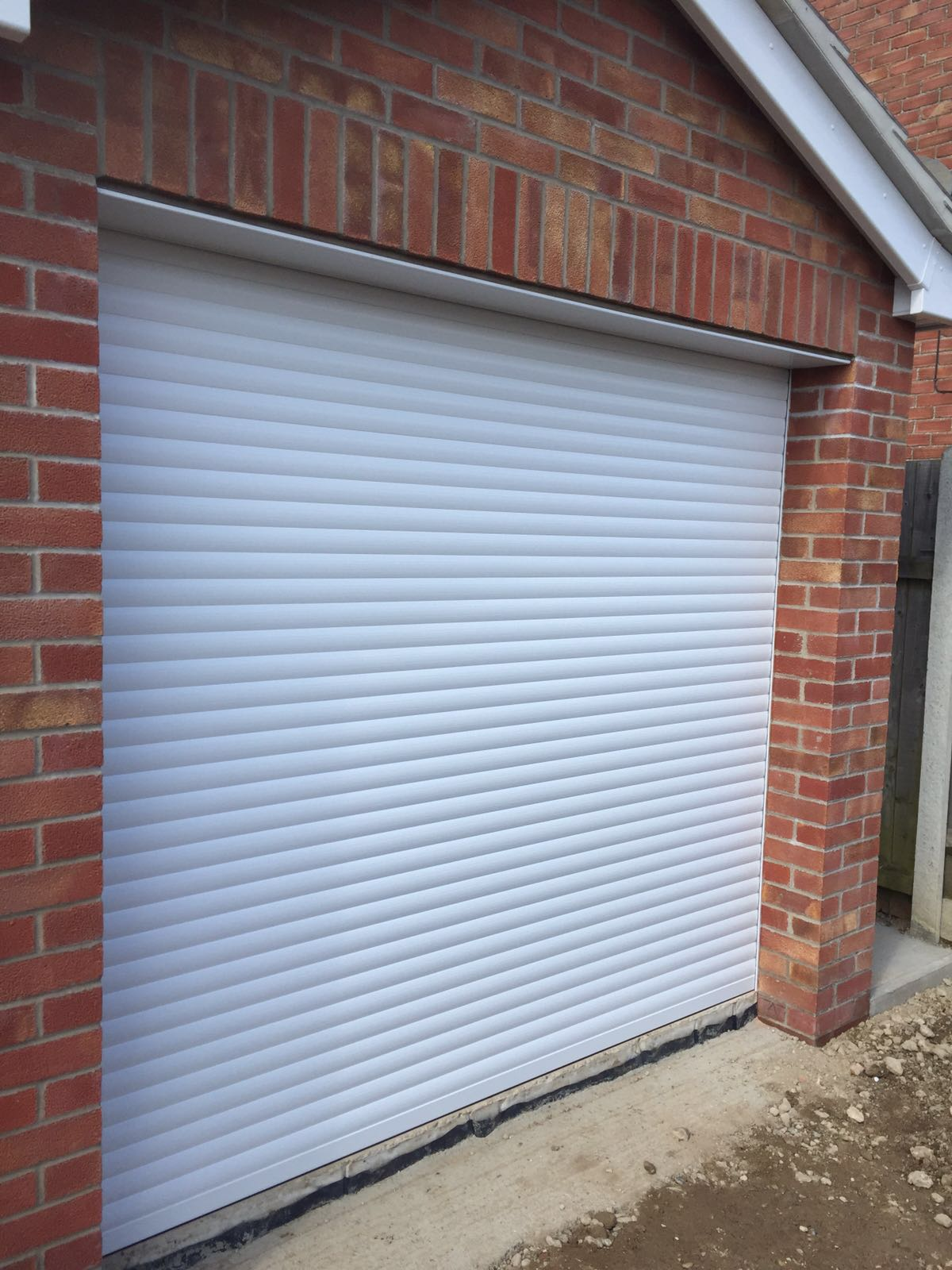 Single white roller garage door
